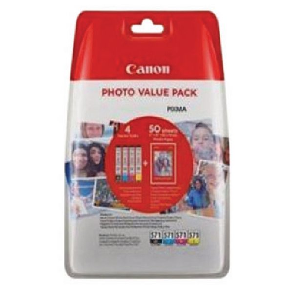 Canon CLI-571 Inkjet Cartridge Value Pack KCMY (Pack of 4) 0386C006