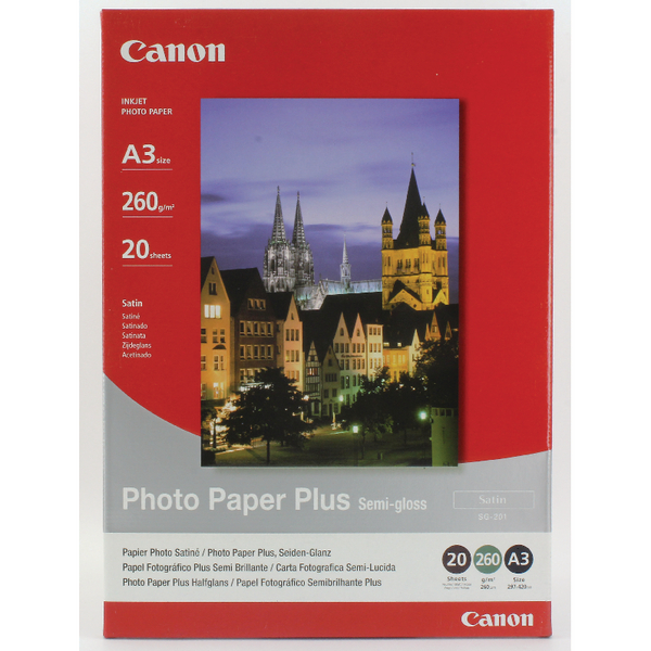 Canon Photo Paper Plus Semi-Gloss SG-201 A3 (Pack of 20) Sheets 1686B026