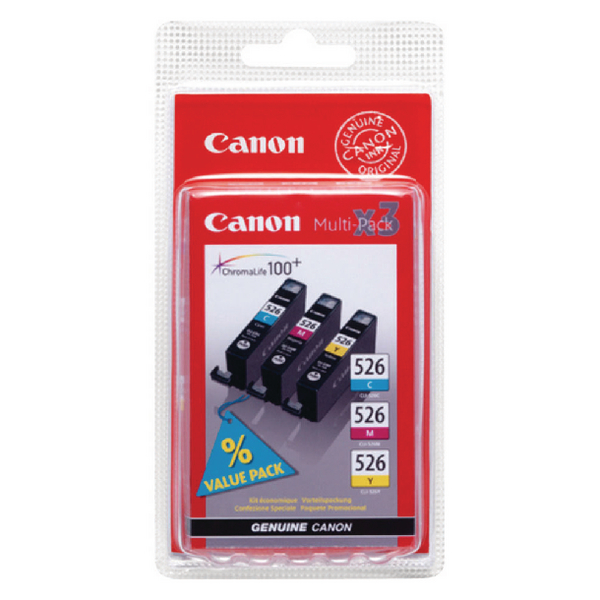 Canon CLI-526 Cyan/Magenta/Yellow Inkjet Cartridges (Pack of 3) 4541B009