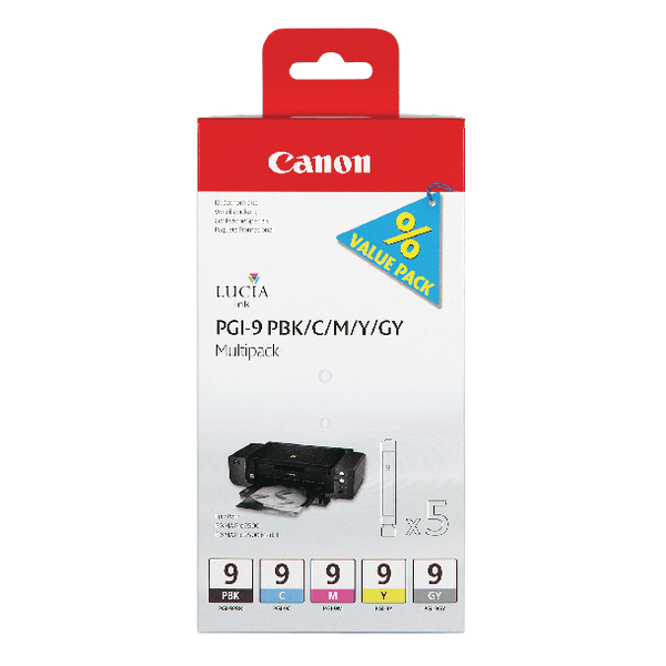 Canon PGI-9  BK/C/M/Y/GY Ink Cartridge 1034B011