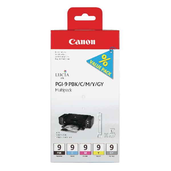 Canon PGI-9 Black /Cyan/Magenta/Yellow/Grey Inkjet Cartridges (Pack of 5) 1034B013