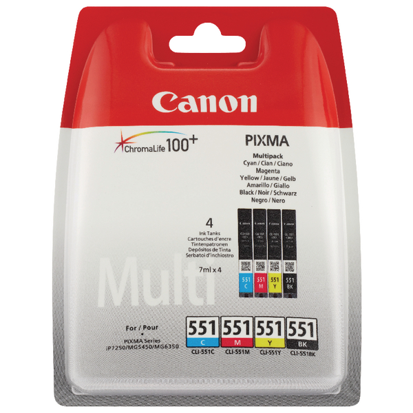 Canon CLI-551 Cyan/Magenta/Yellow/Black Inkjet Cartridges (Pack of 4) 6509B009