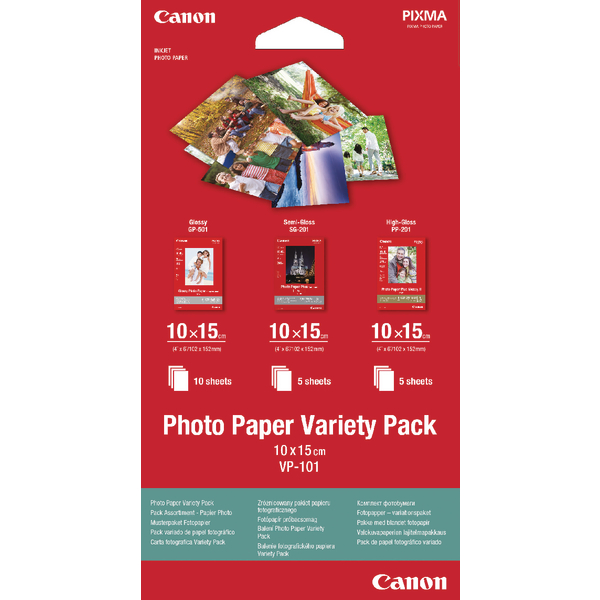 Canon Photo Paper Variety (Pack 10x15cm VP-101 (Pack of 20) 0775B078
