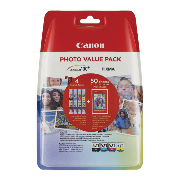 Image for Canon CLI-521 Inkjet Cartridges (Pack of 4) 2933B010