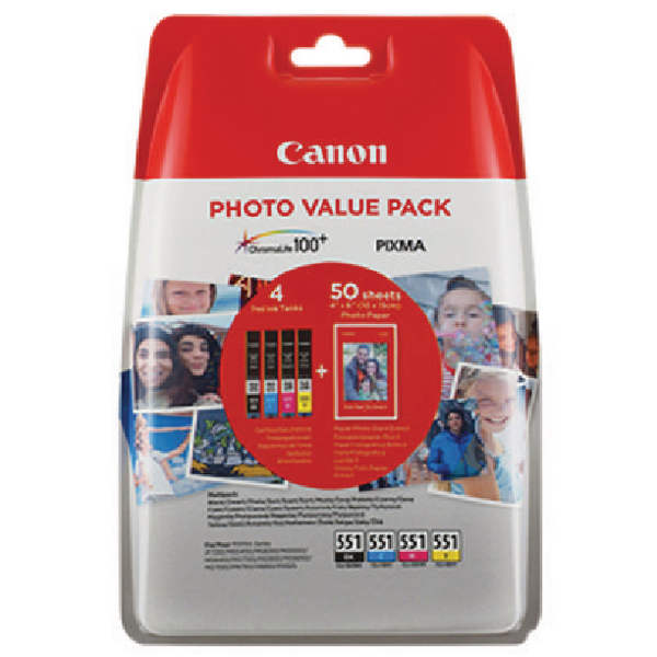 Canon CLI-551 Inkjet Cartridge Value Pack KCMY (Pack of 4) 6508B005