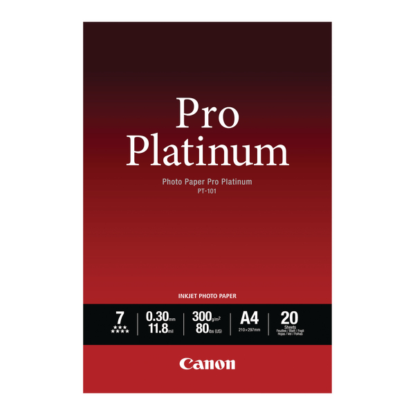 Canon Pro A4 Platinum Photo Paper PT-101 (Pack of 20) 2768B016