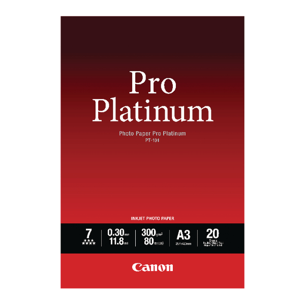Canon Pro A3 Platinum Photo Paper PT-101 (Pack of 20) 2768B017