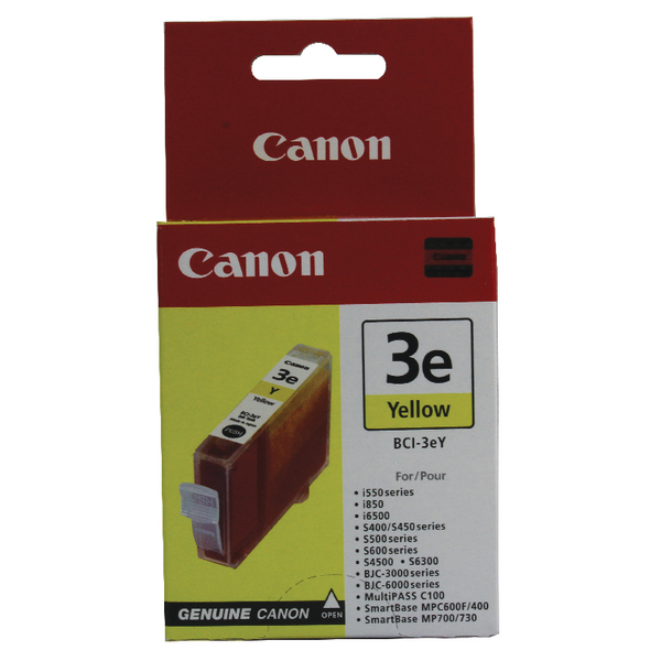 Canon BCI-3eY Yellow Inkjet Cartridge 4705A002