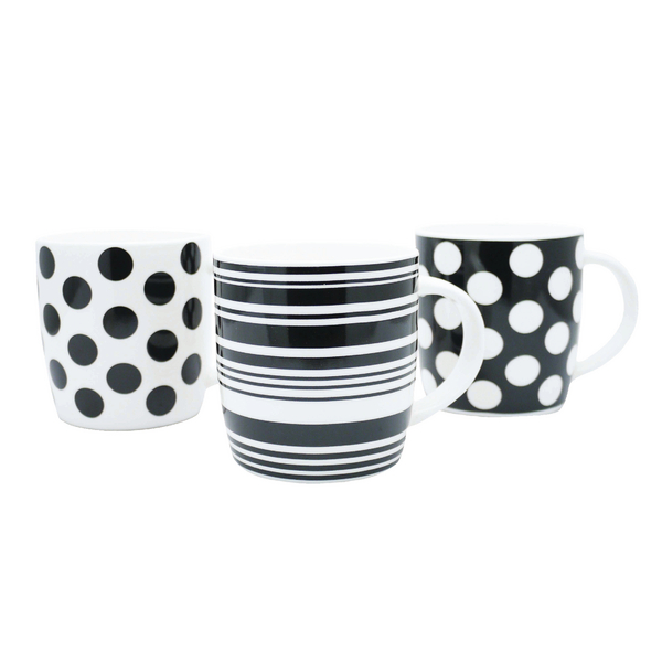 Image for 11oz Squat Mugs Dots and Stripes Black and White (Pack of 12) P1160119