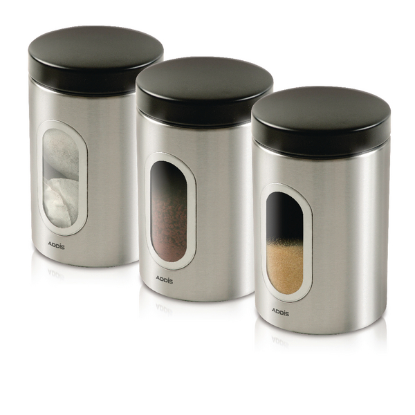Kitchen Canisters Set of 3 Silver Stainless Steel KZOCS
