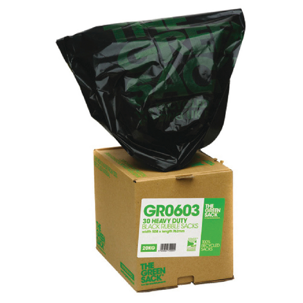 The Green Sack Black Rubble Sack in Dispenser (Pack of 30) VHP GR0603