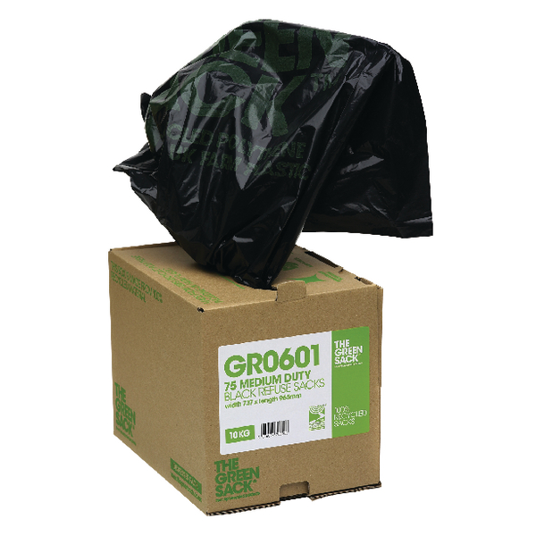 The Green Sack Heavy Duty Black Refuse Bags in Dispenser (Pack of 75) GRO601