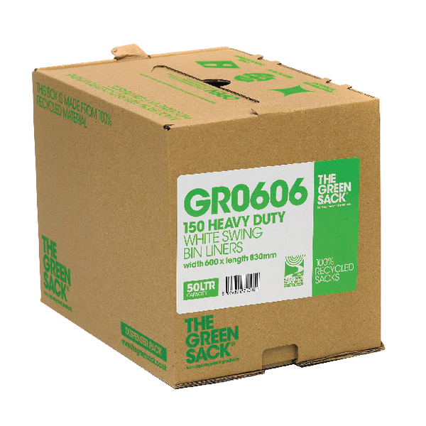 The Green Sack White Swing Bin Liners in Dispenser (Pack of 150) VHP GR0606