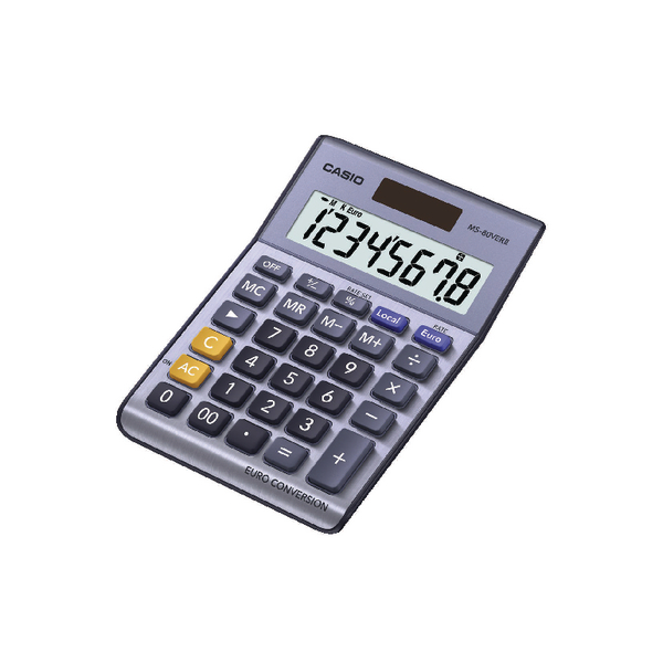 Casio 8-Digit Currency Calculator Silver MS-80VERII