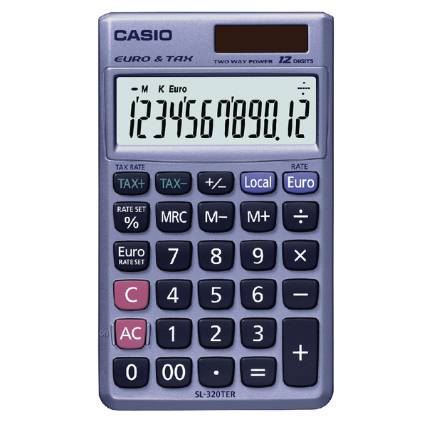 Casio Pocket Calculator 12-Digit SL-320TER+-SK-UP