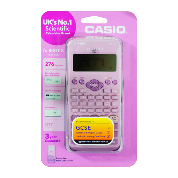 Casio Scientific Calculator Twin-Powered Pink FX-83GTX-DP (Pink)