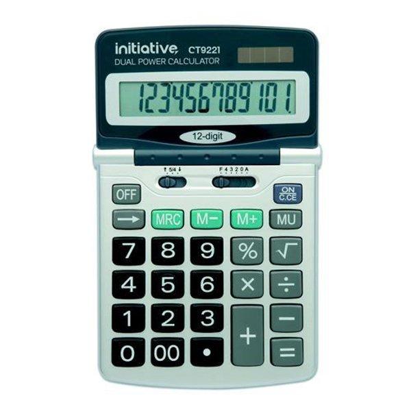 Initiative 12 Digit Desktop Solar Powered Calculator