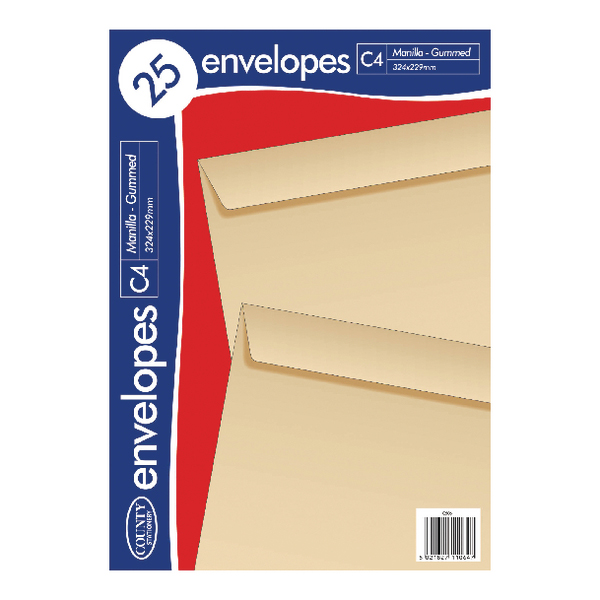 County Stationery C4 Manilla Gummed Envelopes (Pack of 500) C506