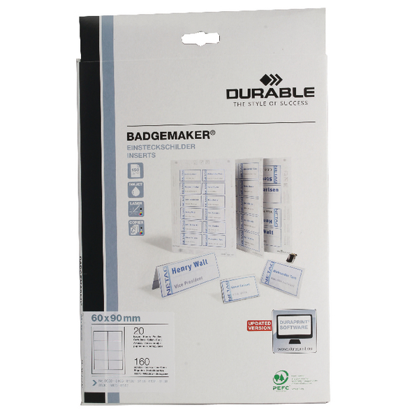 Durable Badgemaker 160 Inserts 60x90mm (Pack of 160) 1456/02