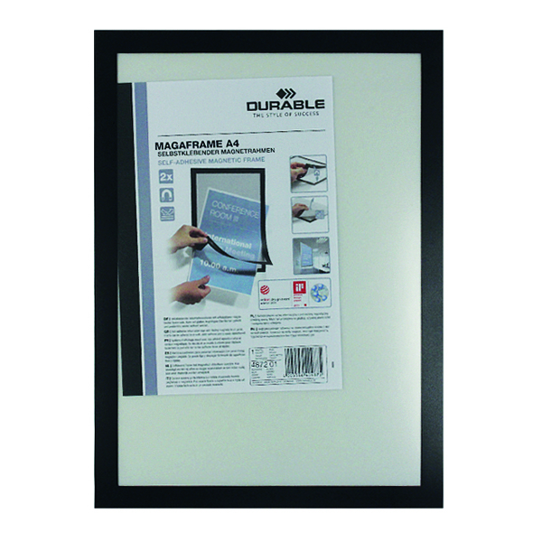 Durable Self-Adhesive Duraframe A4 Black (Pack of 2) 4872/01