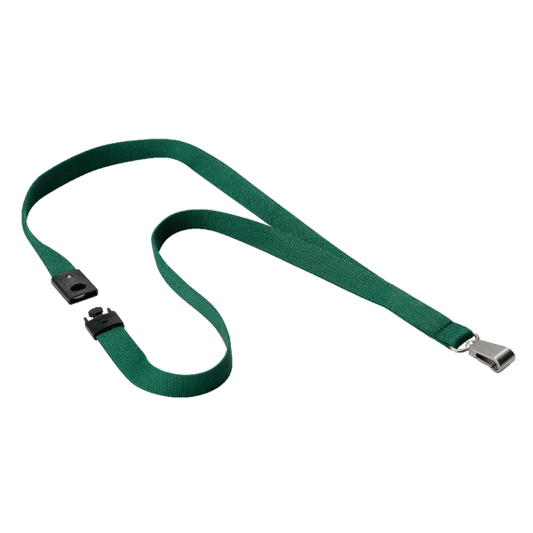 Durable Textile Lanyard With Snap Hook 15mm Dark Green (Pack of 10) 812732