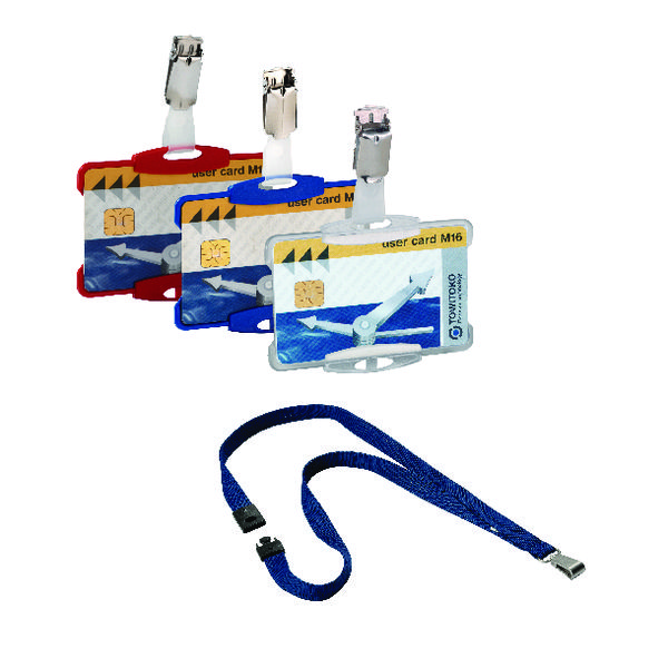 Durable Security Pass Holder PK25 FOC Blue Lanyards PK10