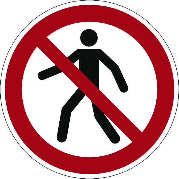 Durable Pedestrians Prohibited Floor Sign (Compliant with ISO 7010) 173203
