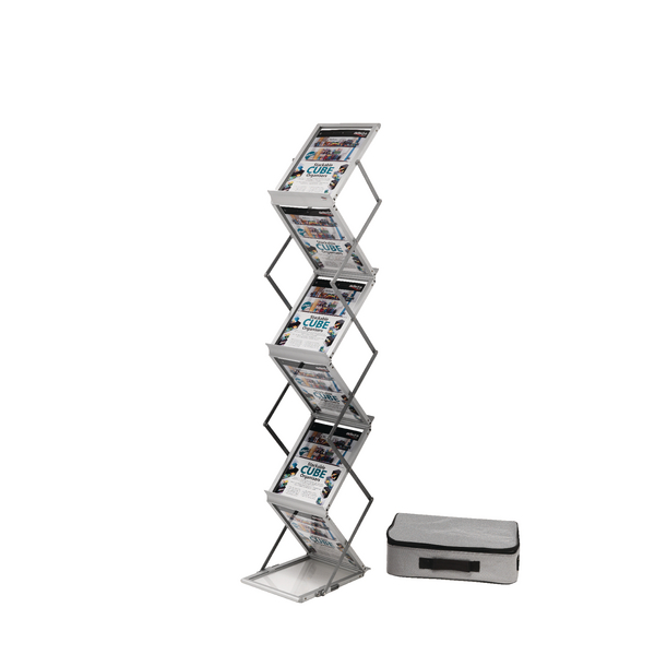 Deflecto A4 Folding Stand Double Sided With Carry Case Silver DE36100