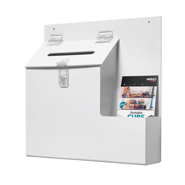 Deflecto Lockable Ballot/Suggestion Box White DEOPBKTYT