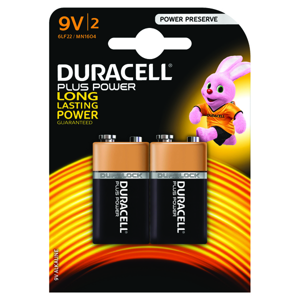 Duracell Plus Battery 9V (Pack of 2) 81275459