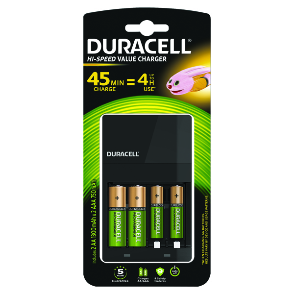 Image for Duracell 4-Hour Charger (For 4 x AA or AAA Batteries) 81528873