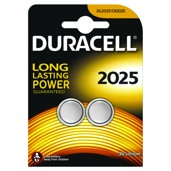 Duracell DL2025 3V Lithium Button Battery (Pack of 2)