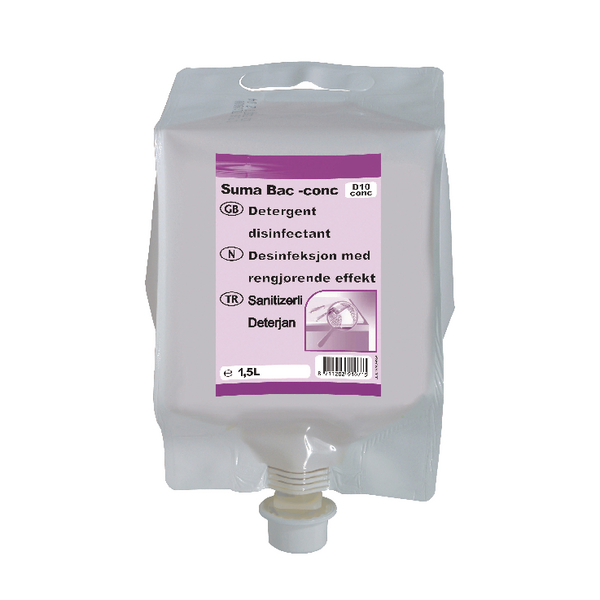 Diversey Suma Bac D10 Detergent and Disinfectant Concentrate 1.5 Litre (Pack of 4) 7010071