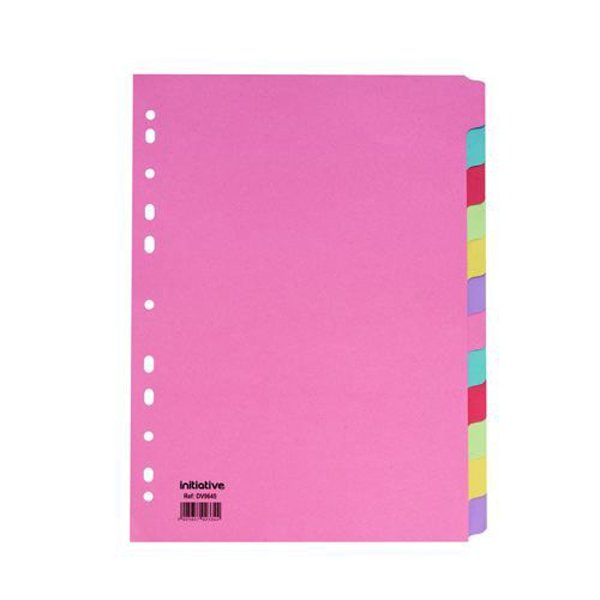 Initiative Divider A4 Manilla 12 Part Multi-Coloured 150gsm 100% Recycled