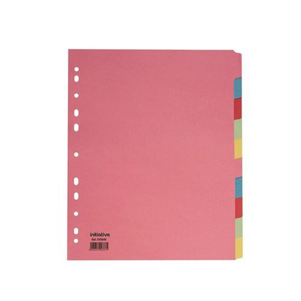 Initiative Divider A4 Extra Wide Manilla 10 Part Multi-Coloured 150gsm 100% Recycled