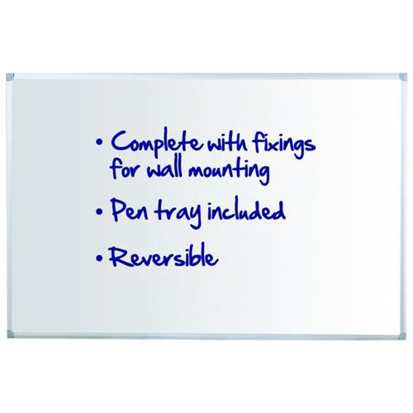 Initiative Reversible Non Magnetic Drywipe Board Aluminium Frame With Pen Tray 1800 x 1200mm (6x4)