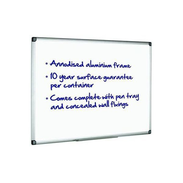 Initiative Magnetic Drywipe Board Anodised Aluminium Frame With Clip-on Pen Tray 1200 x 900mm (4x3)