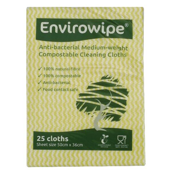 Envirowipe Antibacterial Cleaning Cloths 500x360mm Yellow (Pack of 25) EWF153