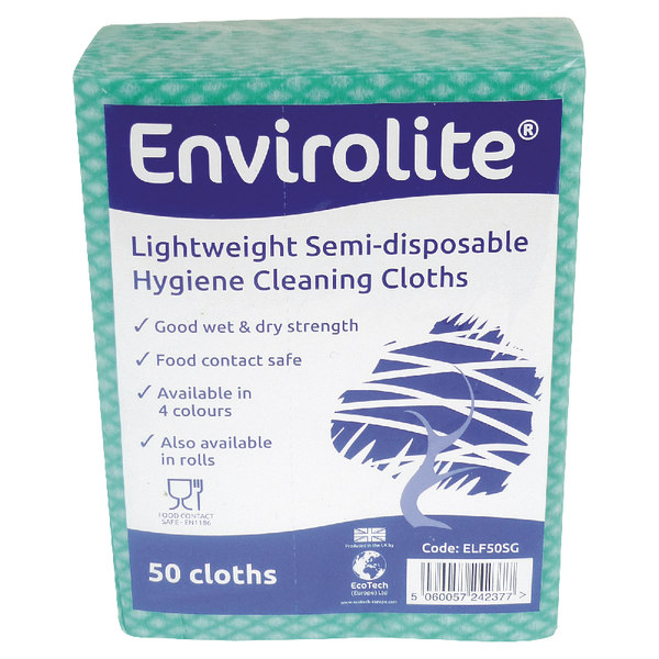 Envirolite Lightweight 480x360mm Green All Purpose Cloths (Pack of 50) ELF500