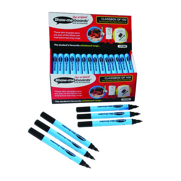Show-me Fine Point Slim Barrel Drywipe Black Marker (Pack of 100) FPCP100