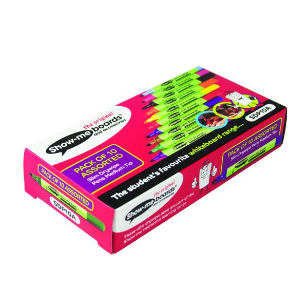 Showme Drywipe Pen Slim Barrel Medium Tip Assorted Pack of 10 SDP10A