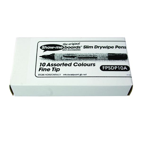 Showme Drywipe Pen Slim Barrel Fine Tip Assorted Pack of 10 FSDP10A