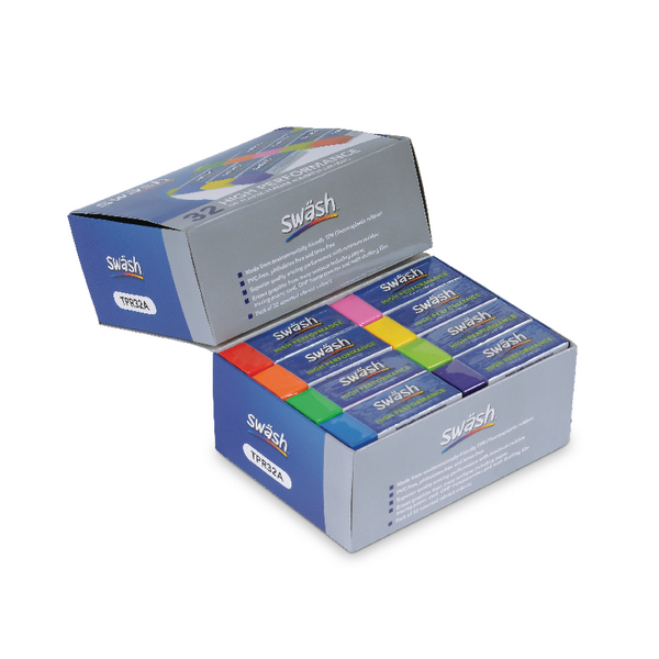 Swash Premium Pencil Erasers 8 Assorted Colours Pk32