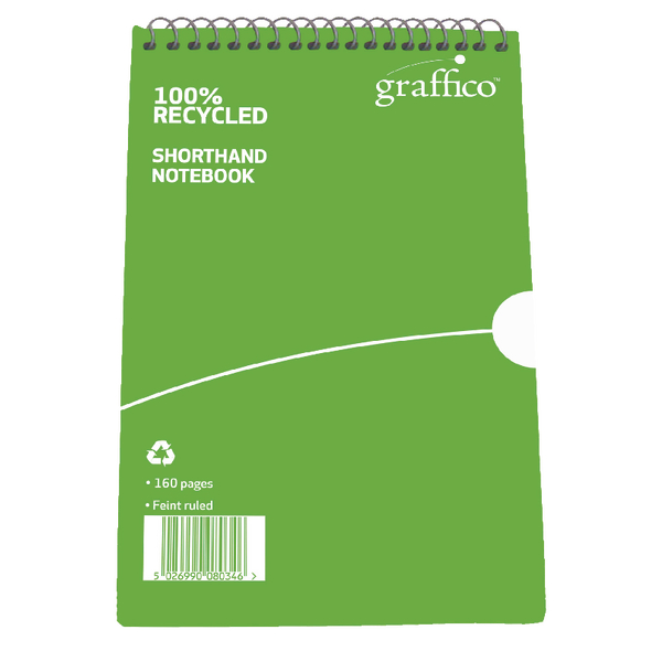 Image for Graffico Recycled Shorthand Notebook Ruled 160 Pages 203x127mm 9100037