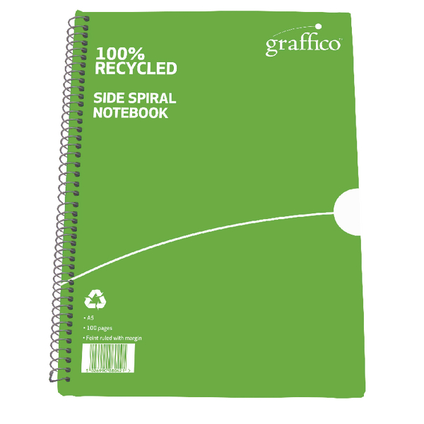 Graffico Recycled Spiral Bound Notebook 100 Pages A5 (Pack of 10) 5000335