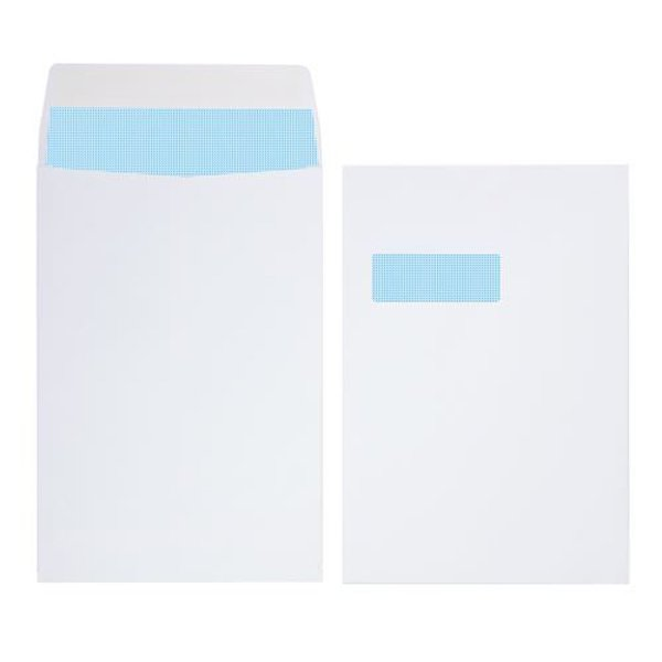 Initiative Envelope Gusset Pocketed Window Self Seal C4 140gsm White Pack 125