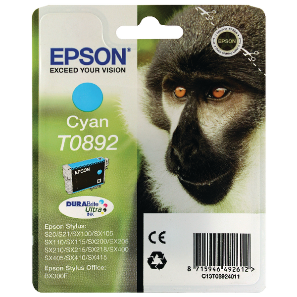 Epson T0892 Cyan Ink Cartridge C13T08924011 / T0892