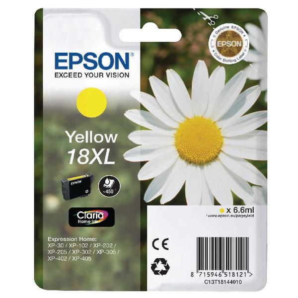 Epson 18XL High Yield Yellow Inkjet Cartridge C13T18144010 / T1814