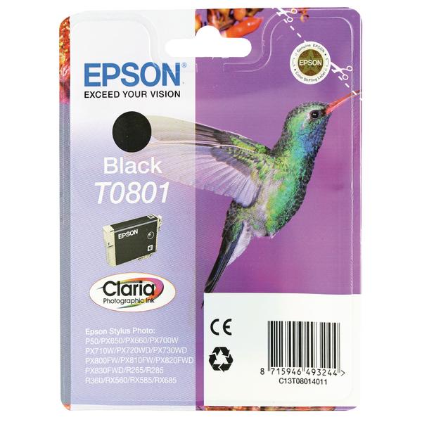 Epson T0801 Black Inkjet Cartridge C13T08014011 / T0801