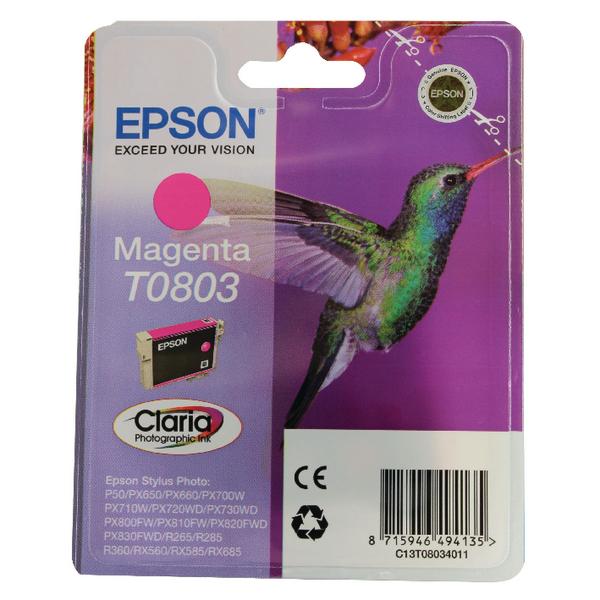 Epson T0803 Magenta Inkjet Cartridge C13T08034011 / T0803